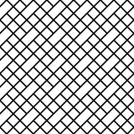 Geometric pattern. Rectangles, rhombuses composition. Seamless surface design with slanted blocks tiling. Grid image. Repeated strokes, diamonds ornament background. Mosaic motif. Grill wallpaper.