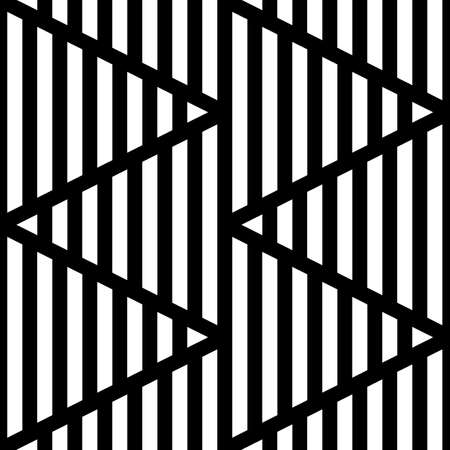 Strokes wallpaper. Black zigzag lines on striped background. Seamless surface pattern design with linear ornament. Broken lines motif. Digital paper with dashed stripes for textile print. Vector art. Illustration