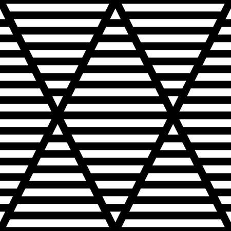 Strokes wallpaper. Seamless surface pattern design with linear ornament. Broken lines motif. Black zigzag lines on striped background. Digital paper with dashed stripes for textile print. Vector art. Ilustração