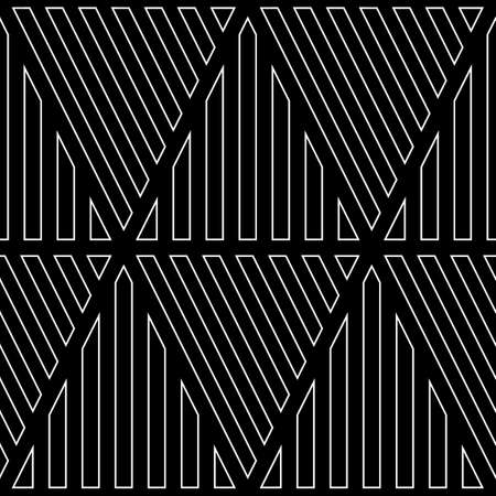 White diagonal and vertical lines contours on black background. Seamless surface pattern design with linear ornament. Slanted strokes wallpaper. Hash stroke motif. Digital paper with angled stripes. Ilustração