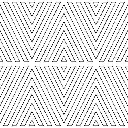 Black broken lines contours on white background. Seamless surface pattern design with linear ornament. Curves wallpaper. Angle brackets motif. Digital paper with chevrons. Striped vector illustration.