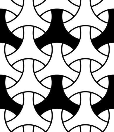 Seamless surface pattern design with traditional japanese ornament. Three pronged blocks tessellation. Repeated white interlocking figures on black background. Bishamon armor motif. Sashiko embroidery