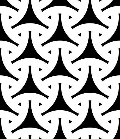 Seamless surface pattern design with traditional japanese ornament. Three pronged blocks tessellation. Repeated black interlocking figures on white background. Bishamon armor motif. Sashiko embroidery Ilustração