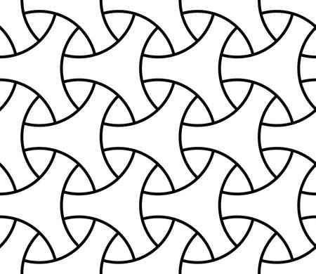 Seamless surface pattern design with traditional japanese ornament. Three pronged blocks tessellation. Repeated interlocking white figures on black background. Bishamon armor motif. Sashiko embroidery