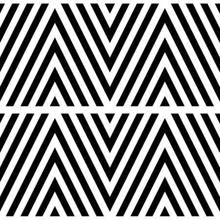 Black chevron lines on white background. Zigzag image. Seamless surface pattern design with linear ornament. Curves wallpaper. Angle brackets motif. Digital paper with chevrons. Striped vector. Vector Ilustração