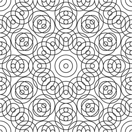 Repeated small and big black circles background. Seamless surface pattern design with circular ornament. Hoops wallpaper. Round motif. Spheres image. Digital paper with rings. Vintage style vector art