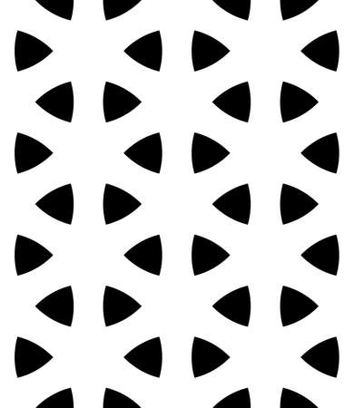 Seamless surface pattern design with ancient oriental ornament. Rounded triangular figures. Repeated black triangles on white background. Ethnic embroidery motif. Ornamental wallpaper. Polygons image.