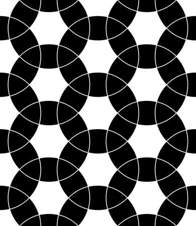 Seamless surface pattern design with ancient oriental ornament. Interlocking blocks tessellation. Repeated black figures on white background. Pavement motif. Flooring image. Ethnic wallpaper. Vector.