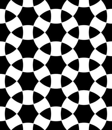 Seamless surface pattern design with ancient oriental ornament. Interlocking blocks tessellation. Repeated white figures on black background. Pavement motif. Flooring image. Ethnic wallpaper. Vector. Vektoros illusztráció