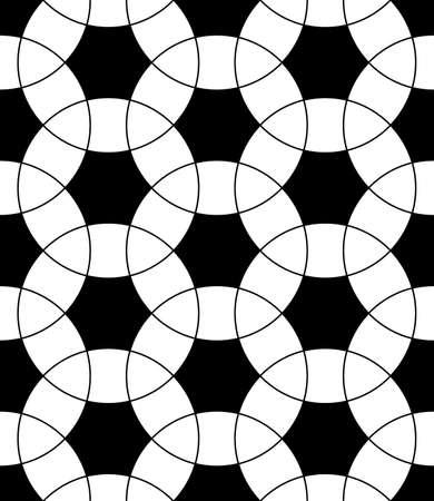 Seamless surface pattern design with ancient oriental ornament. Interlocking blocks tessellation. Repeated white figures on black background. Pavement motif. Flooring image. Ethnic wallpaper. Vector. Ilustração