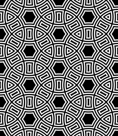 Seamless surface pattern design with ancient culture ornament. Interlocking blocks tessellation. Repeated white figures on black background. Pavement motif. Flooring image. Ethnic wallpaper. Vector. Ilustração