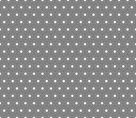 Seamless surface pattern design with ancient culture ornament. Interlocking blocks tessellation. Repeated black figures on white background. Pavement motif. Flooring image. Ethnic wallpaper. Vector. Ilustração