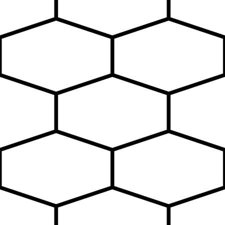 Seamless surface pattern design with elongated hexagons. Honeycomb wallpaper. Mosaic tiles motif. Repeated white polygons tessellation on black background.