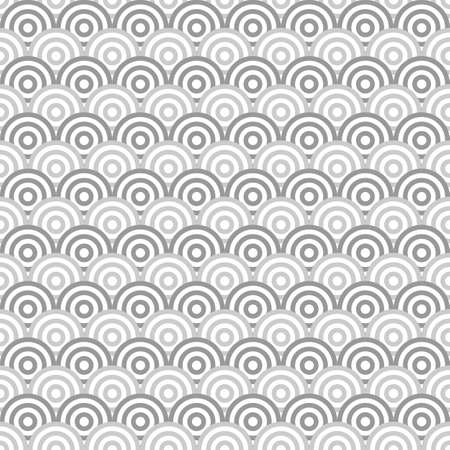 Seamless japanese pattern with scales. Fish scale wallpaper. Asian traditional ornament with repeated scallops. Repeated circles and semicircles background. Vinyl motif. Surface design. Vector art.