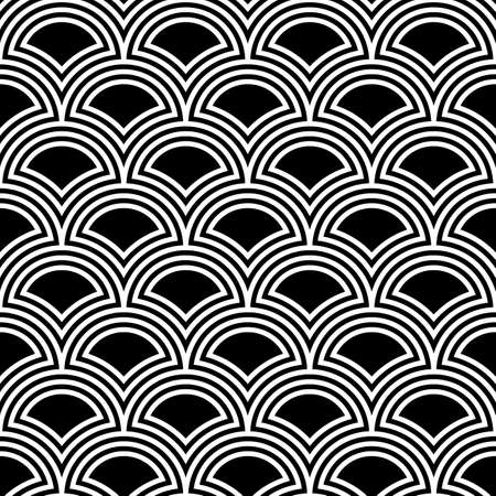 Fish scale wallpaper. Asian traditional ornament with repeated scallops. Repeated black figures on white background. Seamless surface pattern design with circular shapes. Scales motif. Digital paper.
