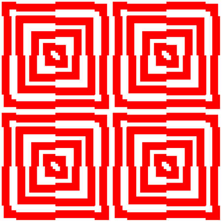 Red repeated stylized squares on white background. Quadrangles wallpaper. Seamless surface pattern design with asymmetrical rectangles ornament. Optical art motif. Digital paper for print.