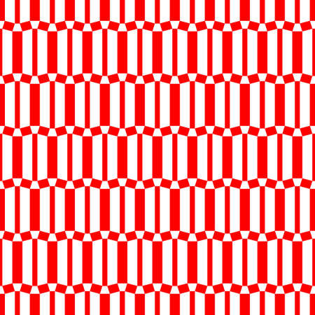 Repeated red geometric figures on white background. Seamless surface pattern design with symmetrical trapeziums ornament. Polygons wallpaper. Quadrangles motif.