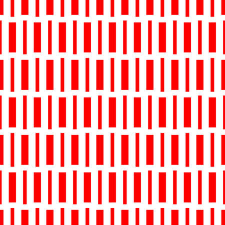 Repeated red geometric figures on white background. Seamless surface pattern design with symmetrical rectangles ornament. Polygons wallpaper. Dashed lines motif.