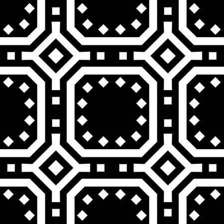 Repeated white figures on black background. Ethnic wallpaper. Seamless surface pattern design with symmetrical rhombuses, squares and other polygons ornament. Geometric motif. Digital paper. Vector