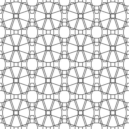Repeated black figures and lines. Geometric wallpaper. Seamless surface pattern design with overlapping elongated octagons and squares. Lacy motif. Digital paper for textile print, web designing. Ilustracja