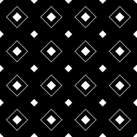 Repeated black diamonds and lines. Ikat wallpaper. Seamless surface pattern design with rhombuses ornament. Lozenge motif. Digital paper for page fills, textile print, web designing. Ethnic vector art Çizim