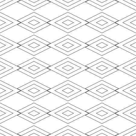 Seamless surface pattern design with outline diamonds ornament. Lozenge motif. Repeated black rhombuses on white background. Ethnic wallpaper. Digital paper for textile print, web designing. Vector. Illustration