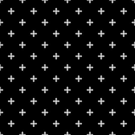Repeated white figures on black background. Ethnic wallpaper. Seamless surface pattern design with diamonds ornament. Rhombuses and triangles motif. Digital paper for textile print, web designing Çizim