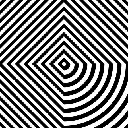 Distorted black rhombuses on white background. Symmetric geometric repeating quadrangles abstract. Interior decorative board. Stripped surface pattern design. Diagonal lines wallpaper. Vector art