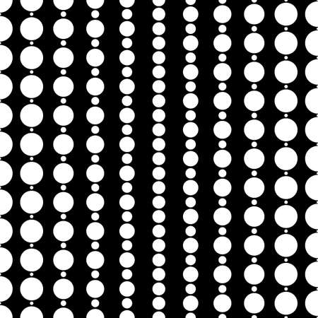 Surface pattern with symmetric geometric ornament. Round spots texture. White circles abstract on black background. Polka dot motif. For digital paper, textile print, web design. Vector illustration