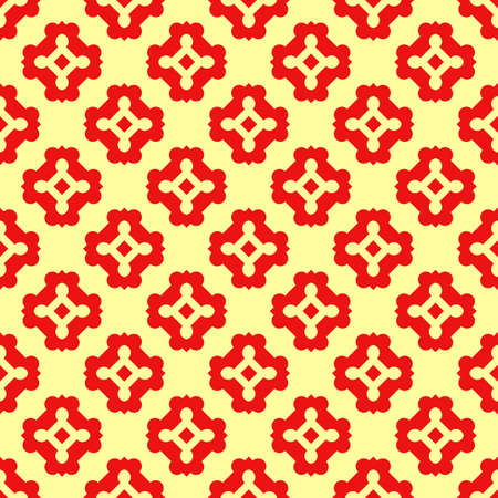 Seamless surface pattern design. Repeated red figures on yellow background. Symmetric abstract wallpaper. Oriental tile motif. Digital paper for textile print, page fill. Vector art illustration