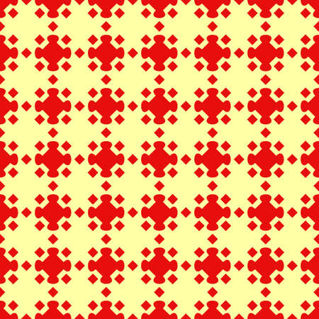 Seamless pattern design. Repeated red figures on yellow background. Symmetric abstract wallpaper. Grid motif. For digital paper, page fills, web desing, surface textures. Vector art illustration Stock fotó - 155841997
