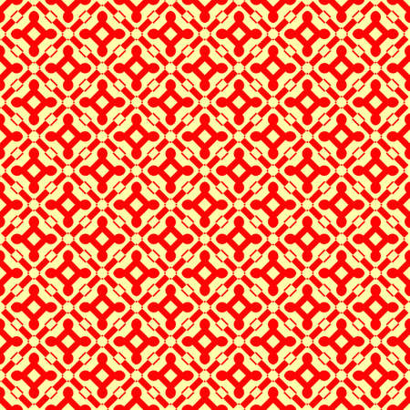 Seamless pattern design. Repeated red figures on yellow background. Symmetric abstract wallpaper. Grid motif. For digital paper, page fills, web desing, surface textures. Vector art illustration Illusztráció