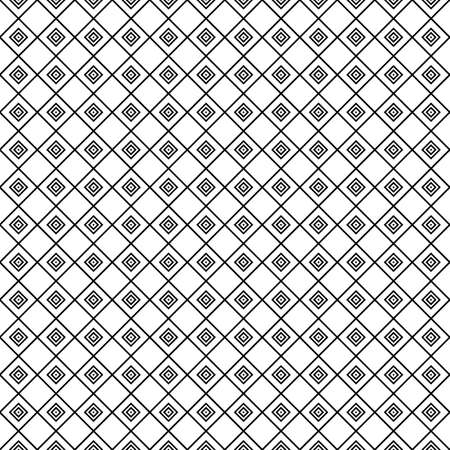 White hollow rhombuses tessellation on black background. Seamless surface pattern design with diamonds ornament. Checkered wallpaper. Mosaic motif. Digital paper for textile print, page fill. Vector. Stock fotó - 155842011