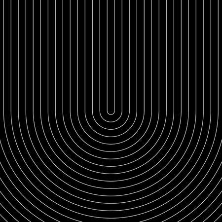 White circular lines on black background. Striped wallpaper. Surface pattern design with symmetrical linear ornament. Stripes motif. Digital paper with curves for page fills, designing, textile print. Stock fotó - 155842037