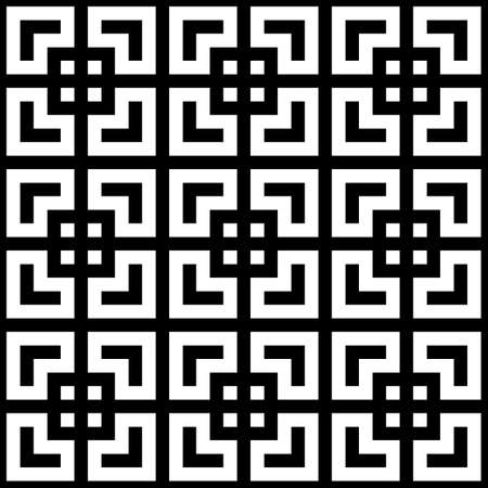 Seamless Chinese window tracery pattern. Repeated stylized black squares on white background. Symmetric geometric abstract wallpaper. Trellis motif. Digital paper, textile print. Vector illustration Stock fotó - 155842038