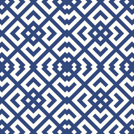 Seamless Chinese window tracery surface pattern design. Repeated white diamonds, brackets, chevrons on blue background. Ancient ethnic ornament wallpaper. Oriental motif, textile print. Vector art.