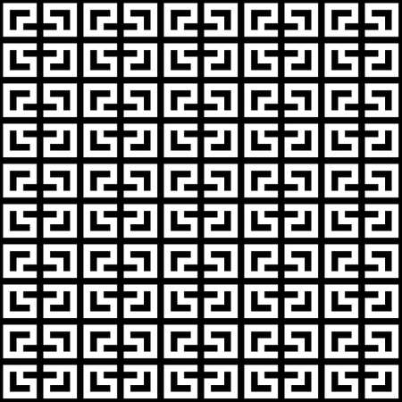 Seamless Chinese window tracery surface pattern. Asian lattice design. Repeated white square scrolls, knots on black background. Ancient ethnic ornament wallpaper. Oriental motif print. Vector art.