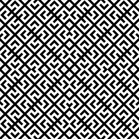 Seamless Chinese window tracery pattern. Repeated stylized black figures and lines on white background. Symmetric geometric abstract wallpaper. Trellis motif. Digital paper, textile print. Vector art Stock fotó - 155842043