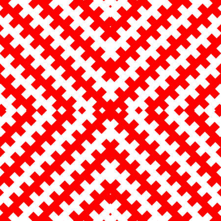 Seamless pattern with symmetric geometric ornament. Red color counter embattled lines on white background. Heraldry motif. Abstract wallpaper. Vector illustration Illusztráció