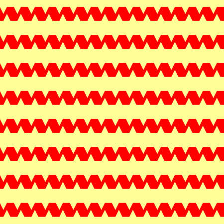 Seamless horizontal striped pattern. Repeated red curling ribbon lines on yellow background. Serpentine motif. Waves abstract wallpaper. For scrapbook paper, textile print. Vector illustration Stock fotó - 155842054