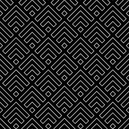 Seamless Chinese window tracery pattern design. Repeated black diamonds and angle brackets on white background. Scallop ornament. Image with scales. Ancient japanese scallops motif. Squama. Vector art