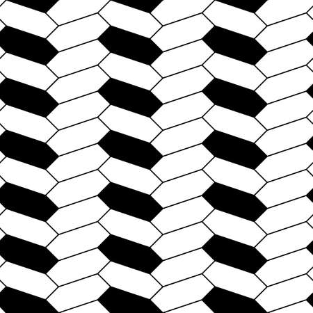 Herringbone motif. Black zigzag weaving lines and blocks. Jagged stripes. Seamless surface pattern design with hexagons ornament. Mosaic parquet wallpaper. Digital paper, page fills, print. Vector art 矢量图像