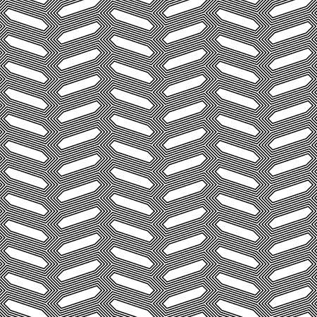 Herringbone motif. Seamless surface pattern design with hexagons tessellation ornament. Mosaic parquet wallpaper. Black zigzag weaving lines. Jagged strokes. Digital paper, page fills, print. Vector. 矢量图像