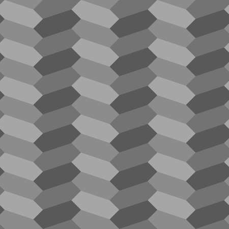 Herringbone motif. Gray zigzag weaving strokes. Jagged stripes. Seamless surface pattern design with hexagons blocks ornament. Mosaic parquet wallpaper. Digital paper, page fills, print. Vector art.