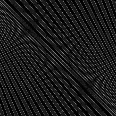 Diagonal striped illustration. Repeated gray slanted lines on black background. Surface pattern design with linear ornament. Disco lights motif. Stripes wallpaper. Angle rays. Pinstripes vector art. Vektorgrafik