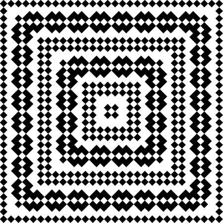 Slavic embroidery motif. Ethnic figure wallpaper. Seamless surface pattern design with black polygons ornament on white background. Digital paper for page fills, web designing, textile print. Vector.