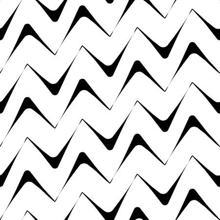 Diagonal zigzag lines seamless pattern. Angled jagged stripes ornament. Linear waves motif. Curves print. Striped background. Tilted broken line shapes wallpaper. Slanted wavy stripe figures. Vector
