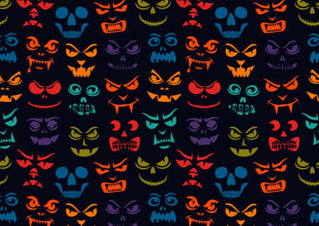 Funny monsters pattern. Halloween pumpkins carved faces silhouettes. Holiday cartoon characters background. Vampires, skeletons, demons stencil. Kids scrapbook digital paper, textile print