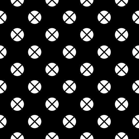 Quarter circle shapes seamless ornament. Broken circles motif. Dots pattern. Circular figures backdrop. Rounds background. Abstract vector. Circle forms