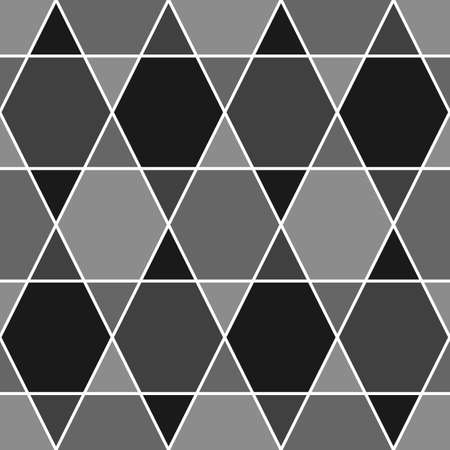 Mosaic. Triangles, hexagons ornament. Grid background. Ethnic tiles motif. Geometric grate wallpaper. Parquet backdrop. Seamless vector pattern.